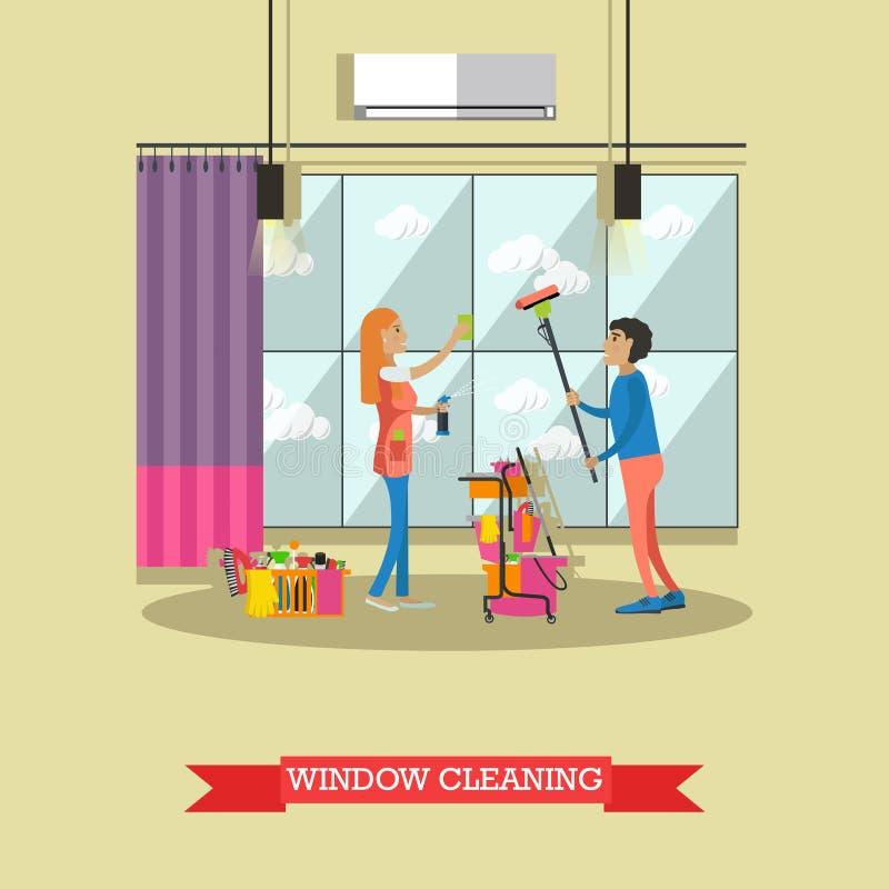Czyści usługowego pojęcia wektorowa ilustracja w mieszkaniu projektuje Housekeeping firmy drużyna przy pracą ilustracja wektor