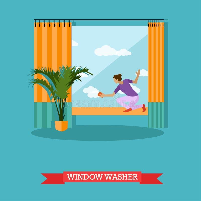 Czyści usługowego pojęcia wektorowa ilustracja w mieszkaniu projektuje Housekeeping firmy drużyna przy pracą ilustracji