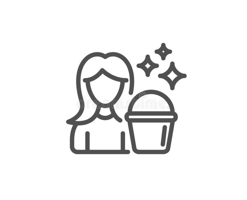 Czyści usługowej linii ikona Kobieta z wiadrem royalty ilustracja
