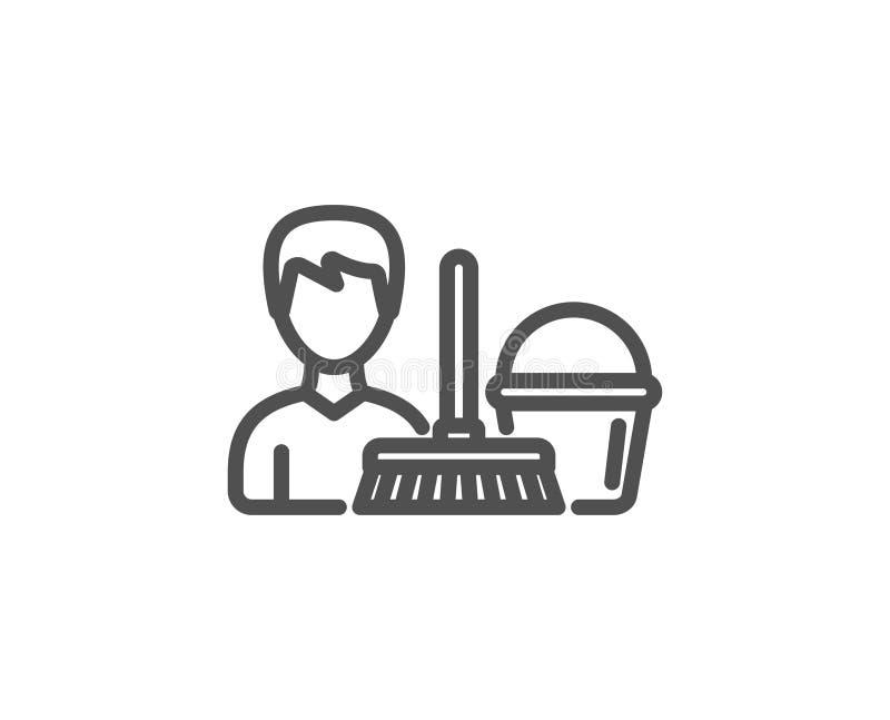 Czyści usługowej linii ikona Wiadro z kwaczem ilustracji
