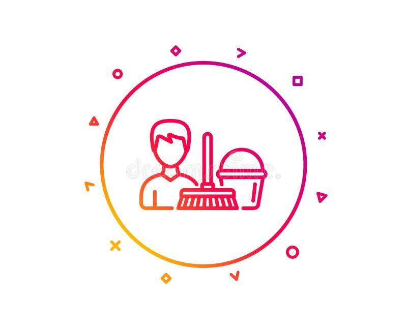 Czyści usługowej linii ikona Wiadro z kwaczem wektor royalty ilustracja