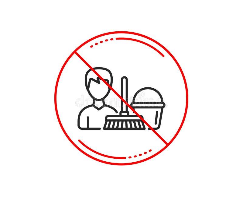 Czyści usługowej linii ikona Wiadro z kwaczem wektor ilustracja wektor