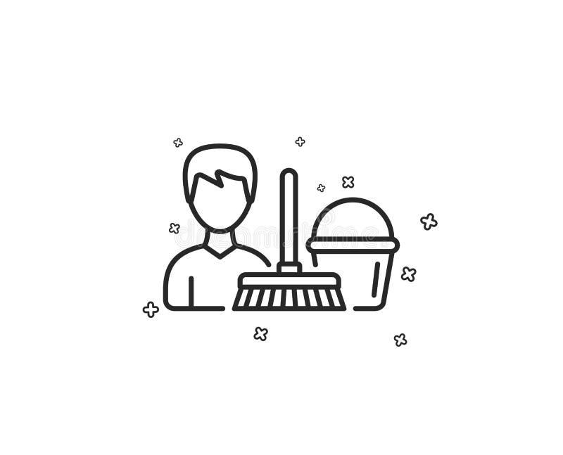 Czyści usługowej linii ikona Wiadro z kwaczem wektor ilustracji