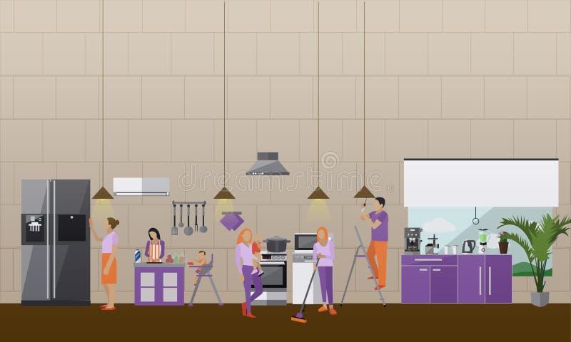 Czyści usługowy pojęcie wektoru sztandar Ludzie czyścą dom Mieszkanie kuchni wnętrze Housekeeping firmy drużyna przy ilustracji
