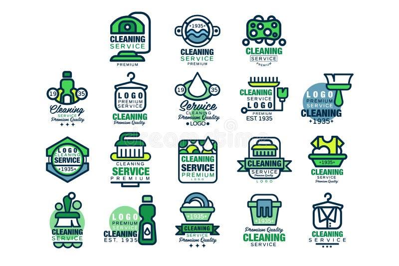 Czyści usługowy premii ilości loga projekta set, cleaning, samochodowy obmycie i plenerowy cleaning wektor, domu i biura, ilustracji