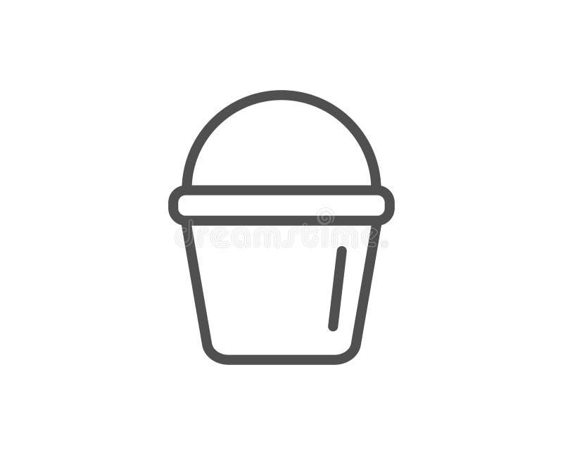 Czyści wiadro kreskowa ikona Płuczkowy wyposażenie ilustracji