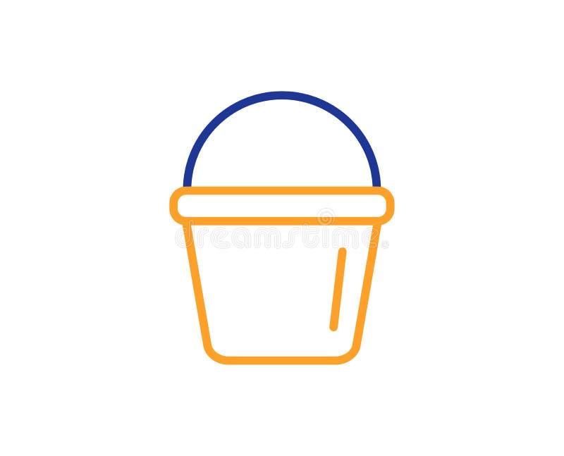 Czyści wiadro kreskowa ikona Płuczkowy wyposażenie wektor ilustracji