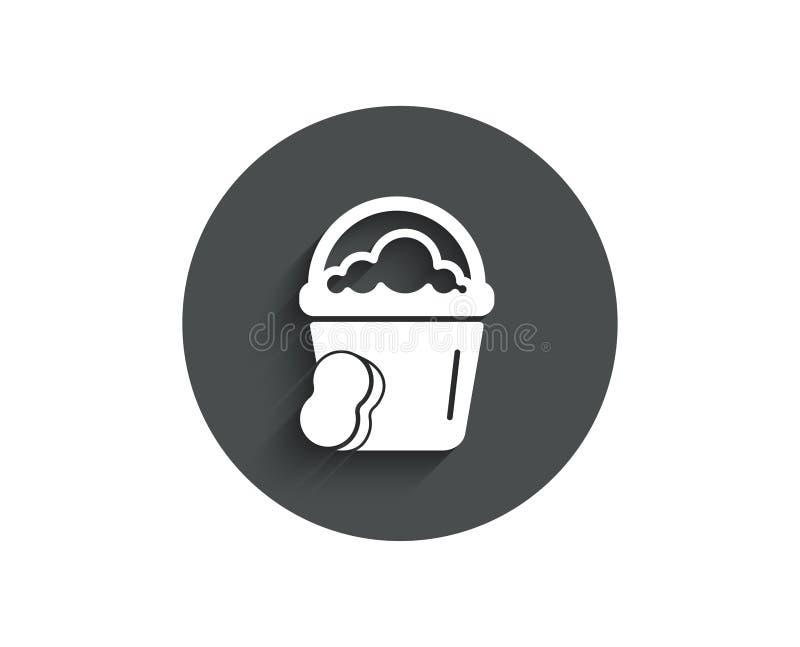 Czyści wiadro z gąbki prostą ikoną ilustracji