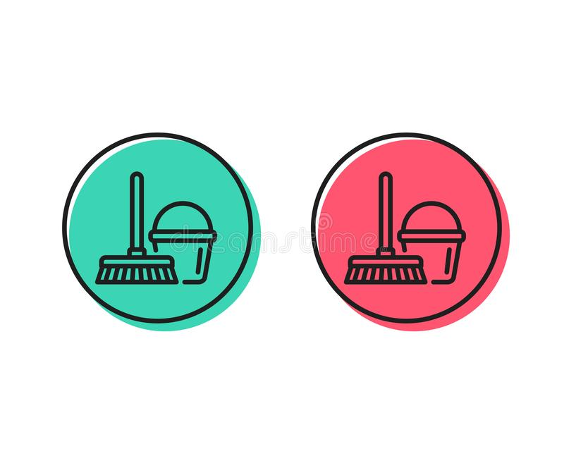 Czyści wiadro z kwacz linii ikoną wektor ilustracja wektor