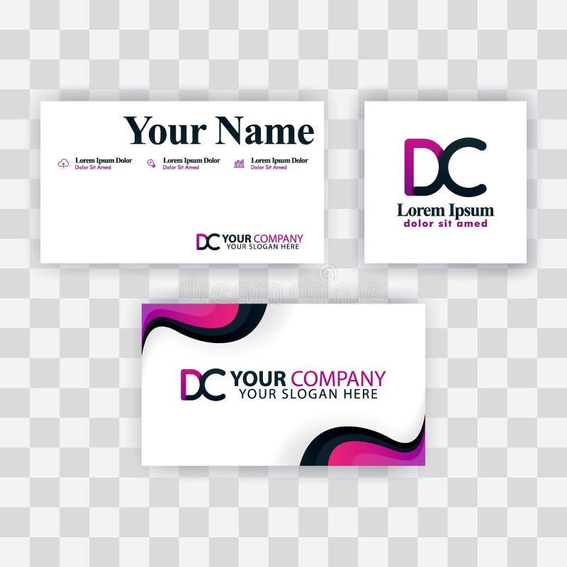 Czyści wizytówka szablonu pojęcie Wektorowy Purpurowy Nowożytny Kreatywnie CE Listowego logo Minimalny Gradientowy Korporacyjny E royalty ilustracja