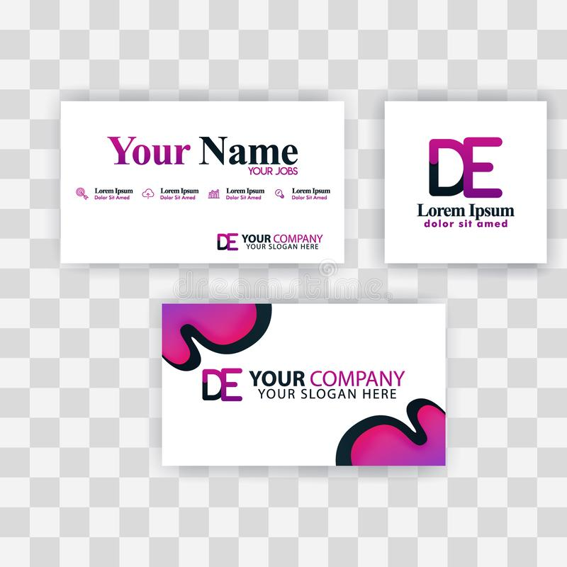Czyści wizytówka szablonu pojęcie Wektorowy Purpurowy Nowożytny Kreatywnie ED listu logo Minimalny Gradientowy Korporacyjny DE Fi royalty ilustracja