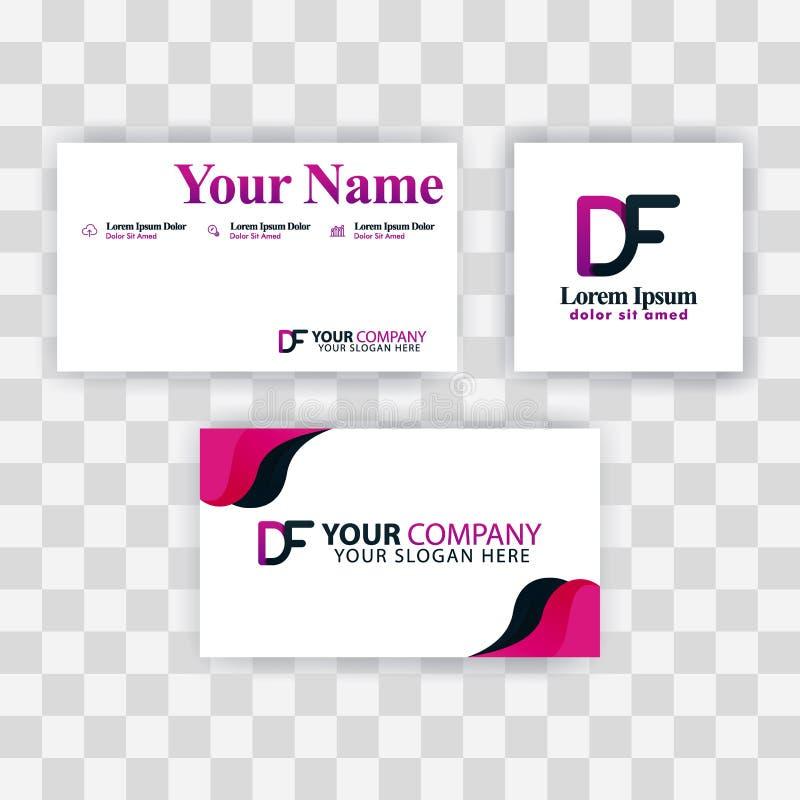 Czyści wizytówka szablonu pojęcie Wektorowy Purpurowy Nowożytny Kreatywnie FD listu logo Minimalny Gradientowy Korporacyjny DF Fi royalty ilustracja