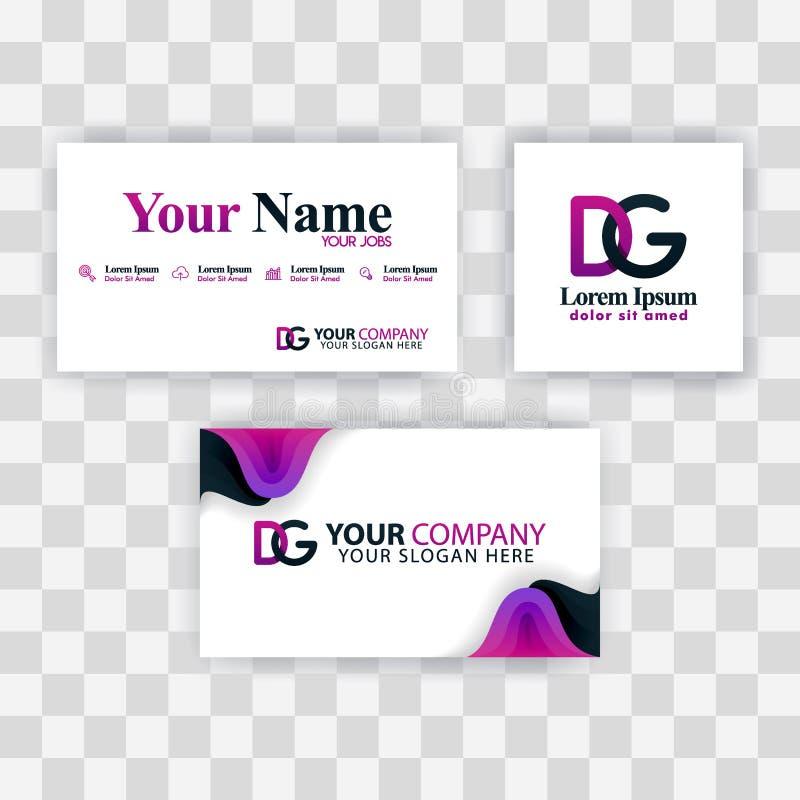 Czyści wizytówka szablonu pojęcie Wektorowy Purpurowy Nowożytny Kreatywnie GD listu logo Minimalny Gradientowy Korporacyjny DG Fi ilustracja wektor