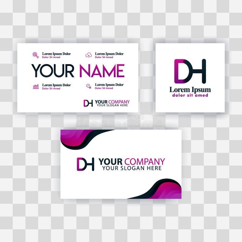 Czyści wizytówka szablonu pojęcie Wektorowy Purpurowy Nowożytny Kreatywnie HD listu logo Minimalny Gradientowy Korporacyjny DH Fi ilustracja wektor