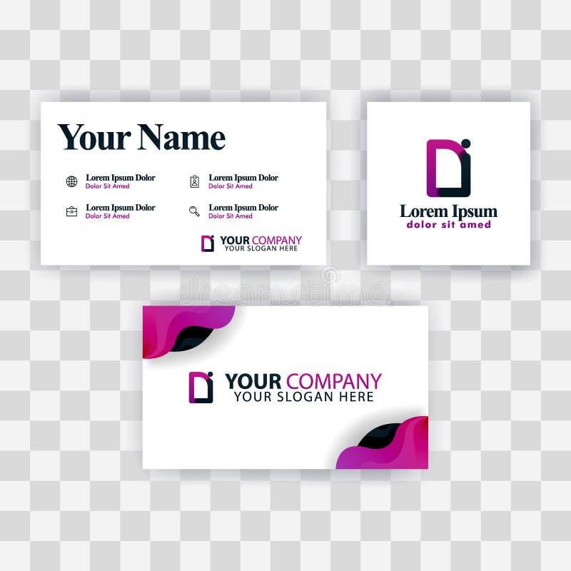Czyści wizytówka szablonu pojęcie Wektorowy Purpurowy Nowożytny Kreatywnie ID listu logo Minimalny Gradientowy Korporacyjny DI Fi ilustracji