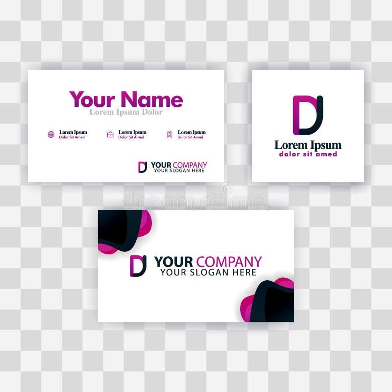 Czyści wizytówka szablonu pojęcie Wektorowy Purpurowy Nowożytny Kreatywnie JD listu logo Minimalny Gradientowy Korporacyjny DJ fi ilustracji