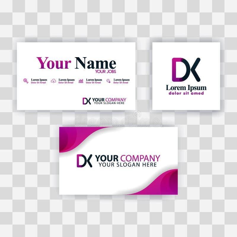 Czyści wizytówka szablonu pojęcie Wektorowy Purpurowy Nowożytny Kreatywnie KD listu logo Minimalny Gradientowy Korporacyjny DK fi royalty ilustracja