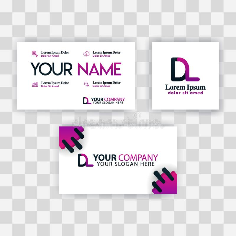 Czyści wizytówka szablonu pojęcie Wektorowy Purpurowy Nowożytny Kreatywnie LD listu logo Minimalny Gradientowy Korporacyjny DL Fi royalty ilustracja