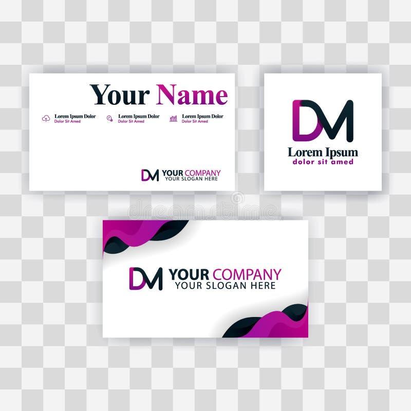 Czyści wizytówka szablonu pojęcie Wektorowy Purpurowy Nowożytny Kreatywnie MD listu logo Minimalny Gradientowy Korporacyjny DM Fi royalty ilustracja