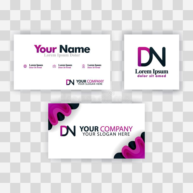 Czyści wizytówka szablonu pojęcie Wektorowy Purpurowy Nowożytny Kreatywnie ND listu logo Minimalny Gradientowy Korporacyjny DN Fi ilustracji