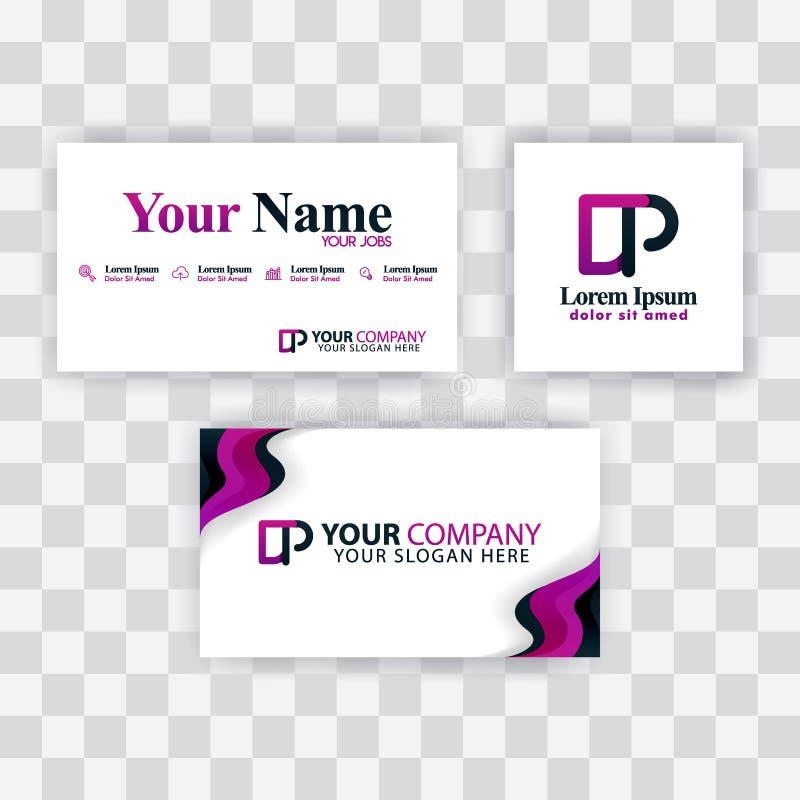 Czyści wizytówka szablonu pojęcie Wektorowy Purpurowy Nowożytny Kreatywnie PD listu logo Minimalny Gradientowy Korporacyjny DP Fi ilustracji