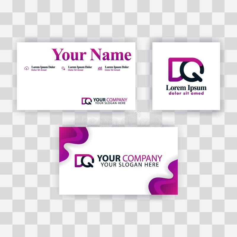 Czyści wizytówka szablonu pojęcie Wektorowy Purpurowy Nowożytny Kreatywnie QD listu logo Minimalny Gradientowy Korporacyjny DQ Fi royalty ilustracja