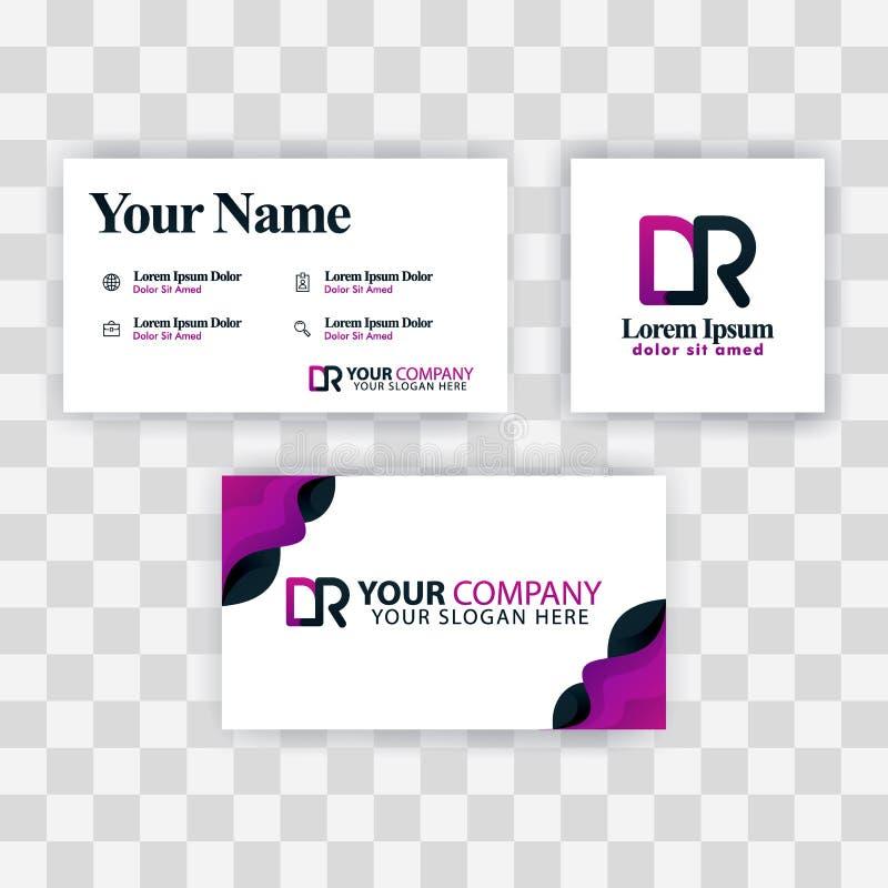 Czyści wizytówka szablonu pojęcie Wektorowy Purpurowy Nowożytny Kreatywnie RD listu logo Minimalny Gradientowy Korporacyjny DR Fi ilustracja wektor