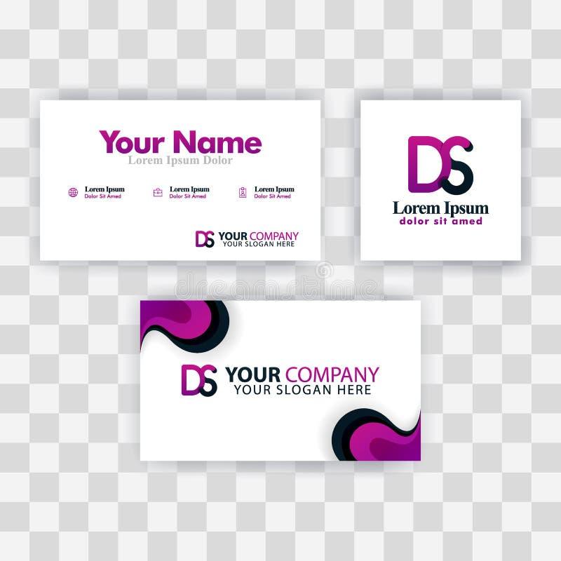 Czyści wizytówka szablonu pojęcie Wektorowy Purpurowy Nowożytny Kreatywnie SD listu logo Minimalny Gradientowy Korporacyjny DS Fi ilustracji