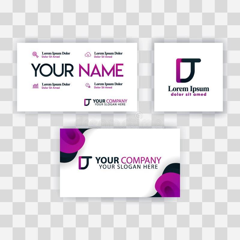 Czyści wizytówka szablonu pojęcie Wektorowy Purpurowy Nowożytny Kreatywnie TD listu logo Minimalny Gradientowy Korporacyjny DT Fi royalty ilustracja