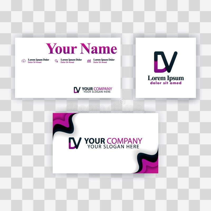 Czyści wizytówka szablonu pojęcie Wektorowy Purpurowy Nowożytny Kreatywnie VD listu logo Minimalny Gradientowy Korporacyjny DV Fi royalty ilustracja