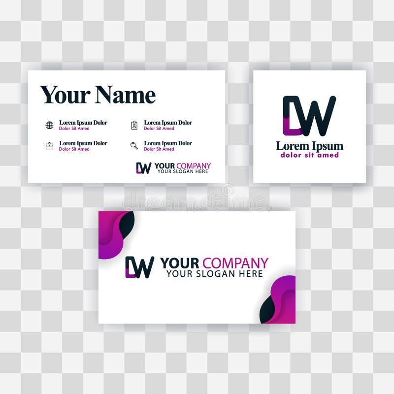 Czyści wizytówka szablonu pojęcie Wektorowy Purpurowy Nowożytny Kreatywnie WD listu logo Minimalny Gradientowy Korporacyjny DW Fi ilustracja wektor