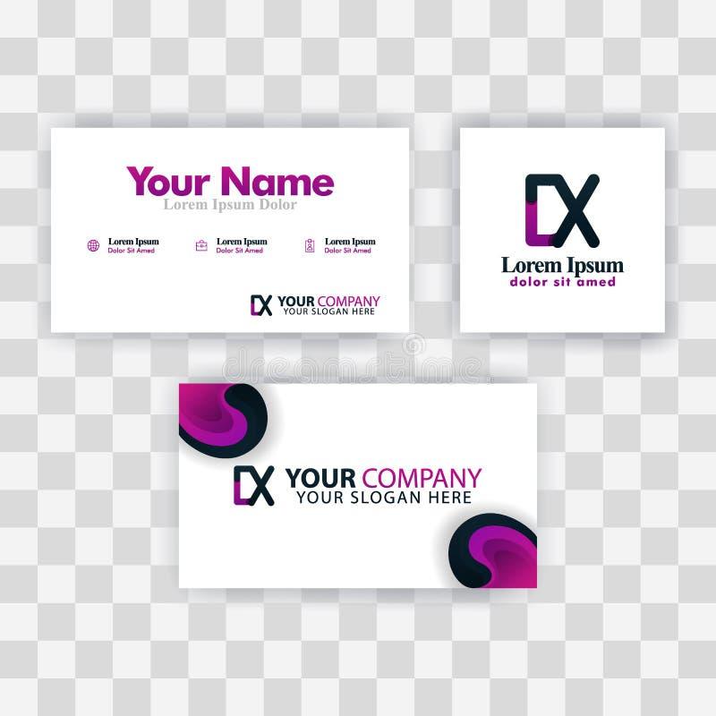 Czyści wizytówka szablonu pojęcie Wektorowy Purpurowy Nowożytny Kreatywnie XD listu logo Minimalny Gradientowy Korporacyjny DX Fi royalty ilustracja