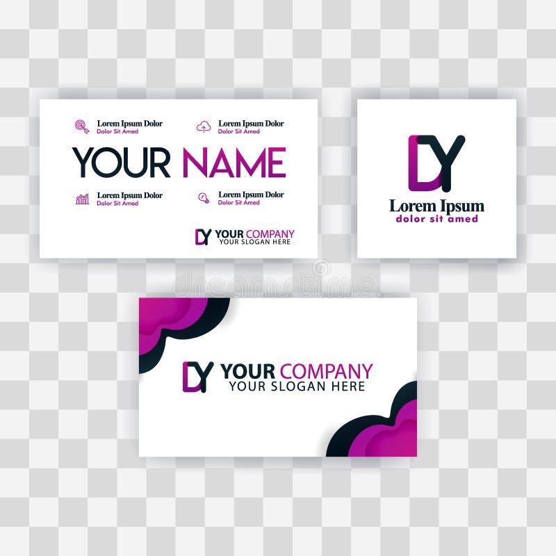 Czyści wizytówka szablonu pojęcie Wektorowy Purpurowy Nowożytny Kreatywnie YD listu logo Minimalny Gradientowy Korporacyjny DY Fi ilustracji