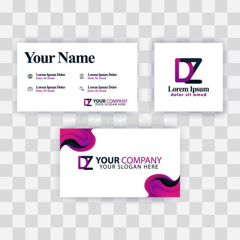 Czyści wizytówka szablonu pojęcie Wektorowy Purpurowy Nowożytny Kreatywnie ZD listu logo Minimalny Gradientowy Korporacyjny DZ fi royalty ilustracja