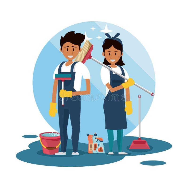 Czyściciele z czyści produktu housekeeping usługą ilustracji