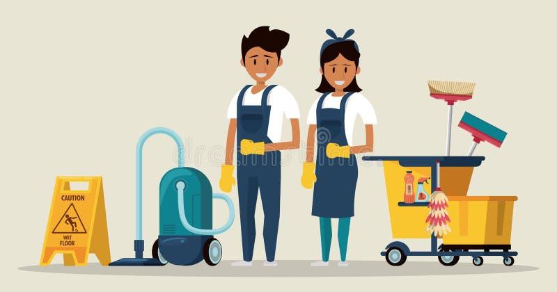 Czyściciele z czyści produktu housekeeping usługą royalty ilustracja