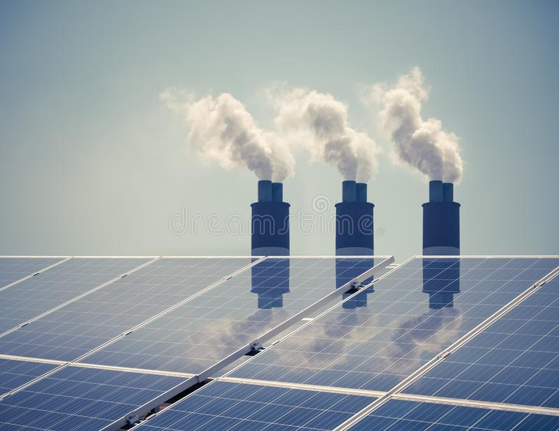 Czysta energia z zanieczyszczeniem fotografia stock