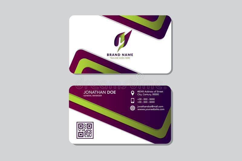 Czysta nowoczesna karta biznesowa w stylu płaskiego gradientu fioletowego i zielonego, tożsamość Projekt logo Hexagon ilustracja wektor