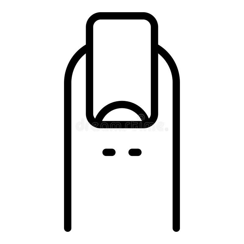 Czysta palcowa gwóźdź ikona, konturu styl ilustracji