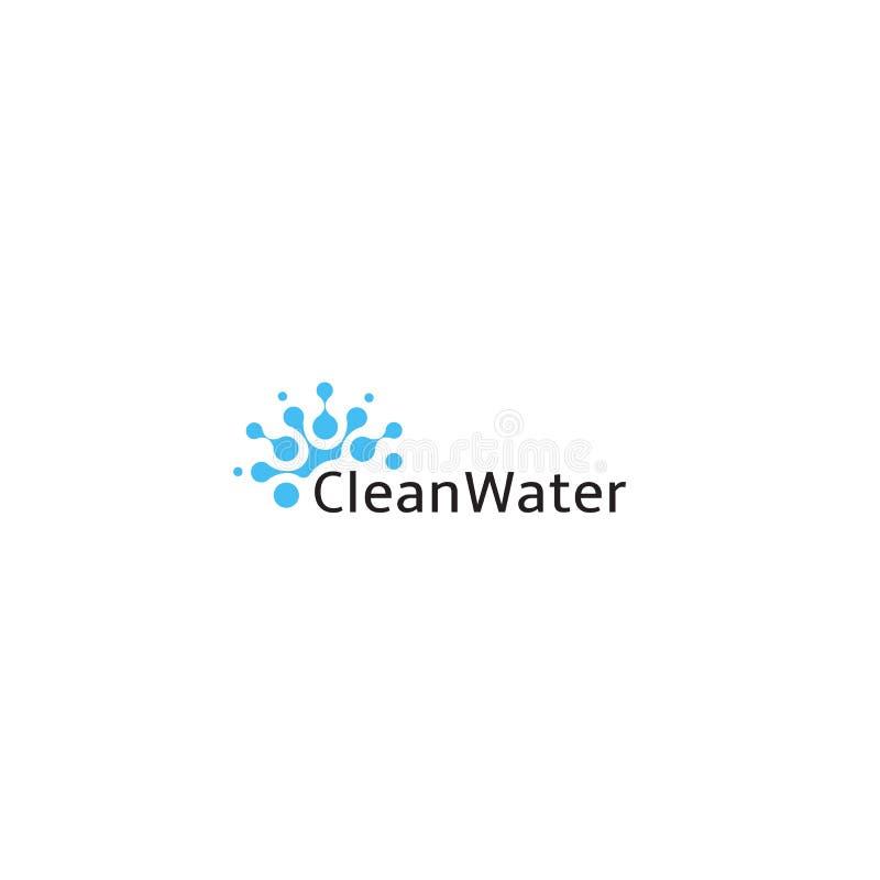 Czysta woda logo, abstrakcjonistyczna błękit kropli ikona, mądrze technologii wodnego well symbol, systemu irygacyjnego emblemat, royalty ilustracja