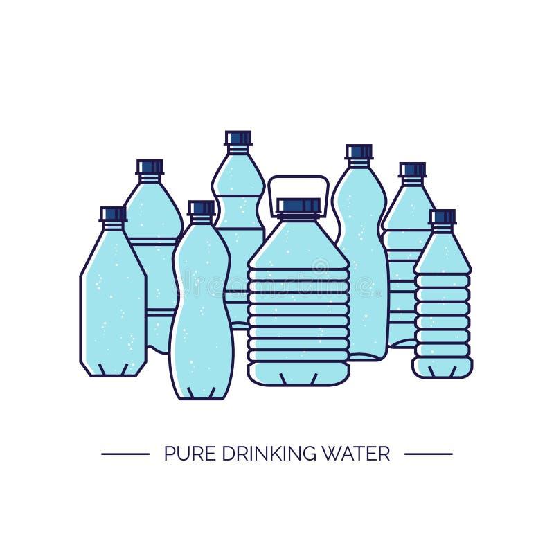 Czysta woda pitna Kreskowa wektorowa ilustracja grupa plastikowe butelki ilustracji