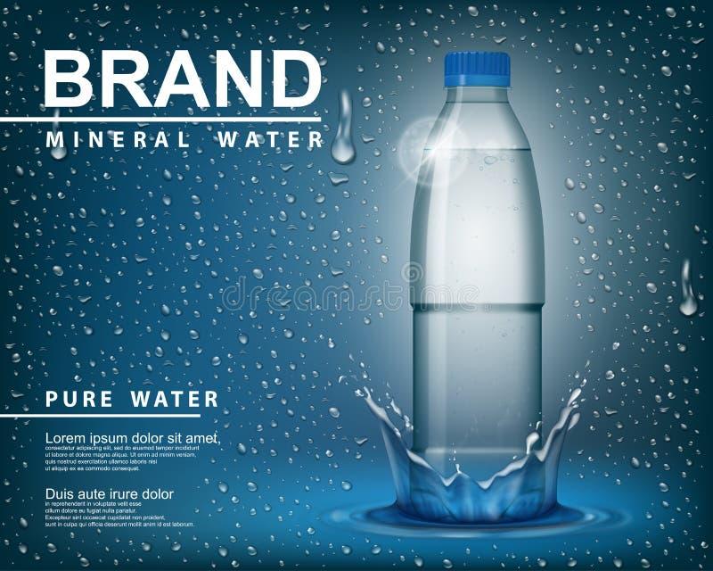 Czysta wody mineralnej reklama, Przejrzystego połysku plastikowa butelka z opadowymi elementami na błękitnym tle Realistyczny 3D  ilustracji