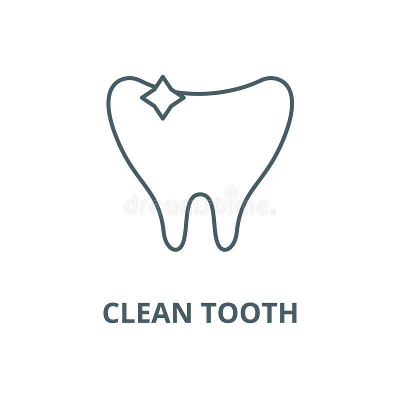 Czysta ząb linii ikona, wektor Czysty zębu konturu znak, pojęcie symbol, płaska ilustracja royalty ilustracja