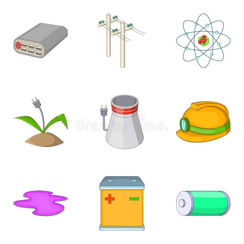 Czyste energetyczne ikony ustawiać, kreskówka styl ilustracji