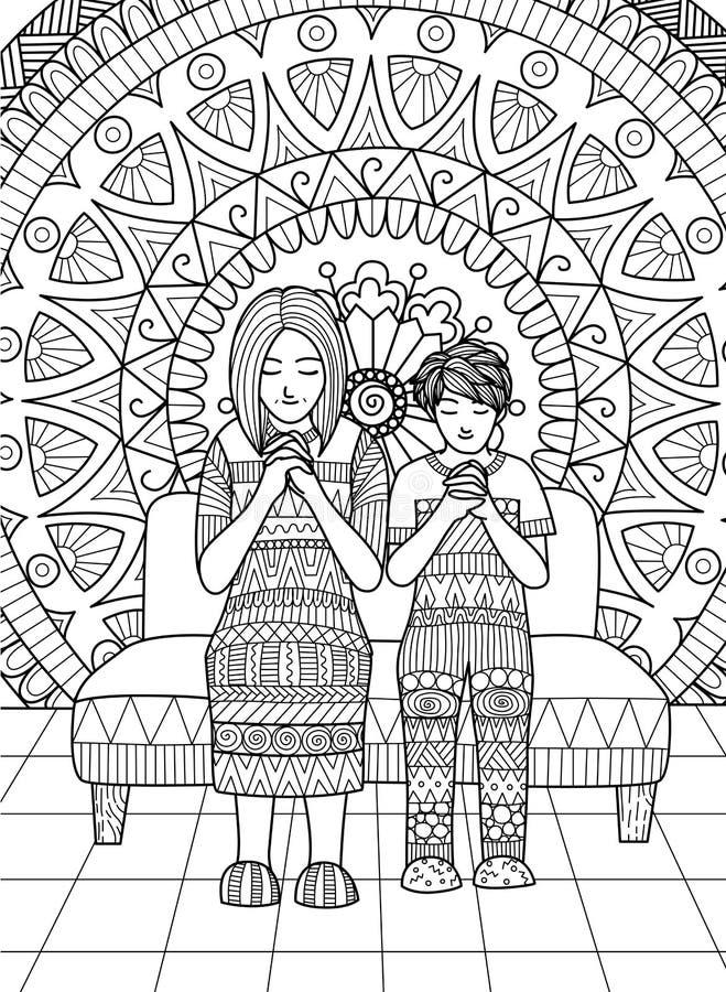 Czyste linie doodle projekt mama i jej syn ono modli się wpólnie, dla dorosłej kolorystyki royalty ilustracja