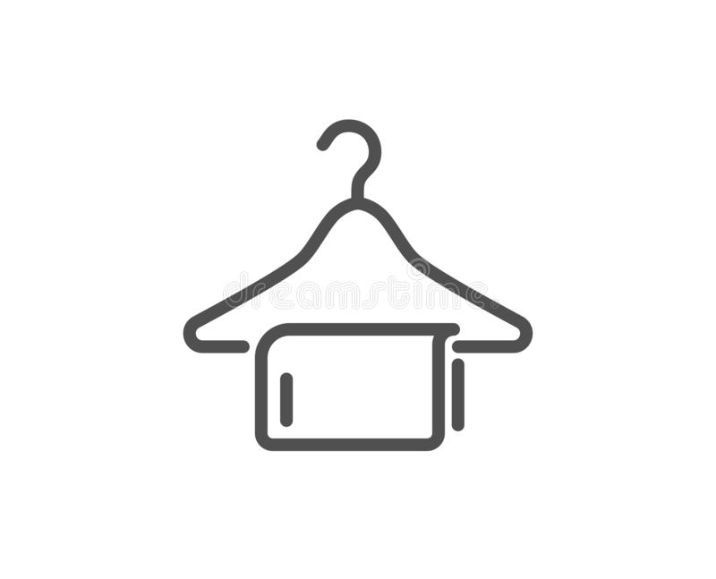 Czystego ręcznika linii ikona Pralniany wieszaka znak Ubraniowy czysty wektor ilustracja wektor