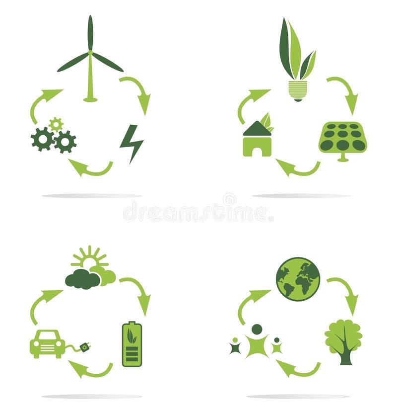 Czystej energii ikony set fotografia stock