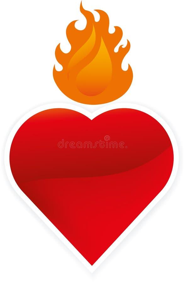 Czysty i jaskrawy płonący serce w geometrical kształcie ilustracja wektor