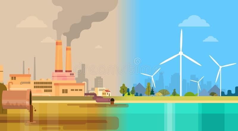 Czysty I Zanieczyszczający Brudnego miasta pojęcia Środowiskowy Zielony Energetyczny wiatr ilustracja wektor