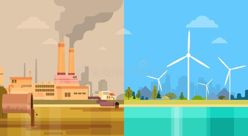 Czysty I Zanieczyszczający Brudnego miasta pojęcia Środowiskowy Zielony Energetyczny wiatr royalty ilustracja